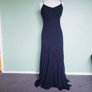 XSCAPE Black Beaded Evening Gown